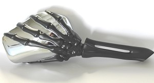 CIPA # 01918 Skeleton Hand Mirror - Black Stem w/ Chrome Head
