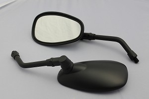 CIPA # 01939 Motorcycle Classic Look Mirror Kit - Black