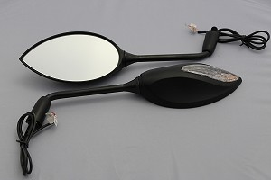 CIPA # 01936 Motorcycle Sport Bike Lighted Mirror Kit -  Black