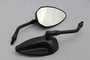 CIPA # 01934 Motorcycle Economy Mirror Kit - Black