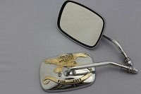 CIPA # 01925 Motorcycle Live to Ride Chrome Mirror Kit -Gold Accents