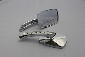 CIPA # 01944 Motorcycle Rectangle Small Mirror Kit - Chrome