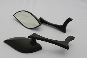 CIPA # 01922 Motorcycle Stylized Teardrop Mirror Kit - Black