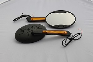 CIPA # 01914 Motorcycle Tribal LED Lighted Mirror Kit - Black