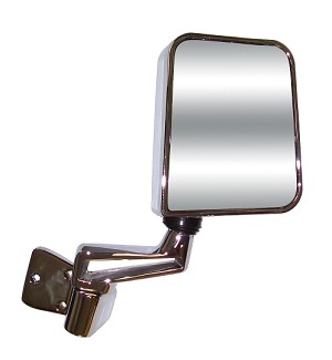 CIPA 44451 Original Style Replacement Mirror Jeep Passenger Side Manual Foldaway Non-Heated Chrome