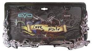 "CIPA 93455 License Plate Frame ""Love & Hate"""
