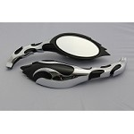 CIPA # 01919 Motorcycle Flame Mirror Kit - Two Tone
