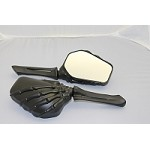 CIPA # 01916 Motorcycle Skeleton Hand Mirror - Black Stem w/ Black Head